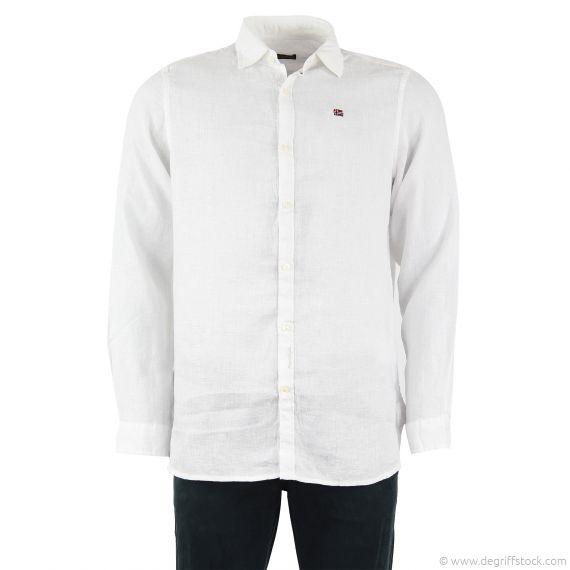 chemise blanche en lin homme gitanus napapijri d griff 39 stock. Black Bedroom Furniture Sets. Home Design Ideas