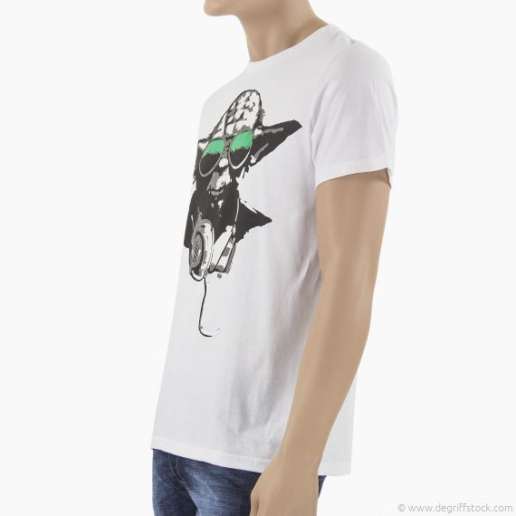 t shirt blanc yoda homme star wars d griff 39 stock. Black Bedroom Furniture Sets. Home Design Ideas