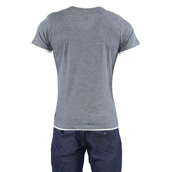 t shirt ray bleu marine et gris homme best mountain d griff 39 stock. Black Bedroom Furniture Sets. Home Design Ideas