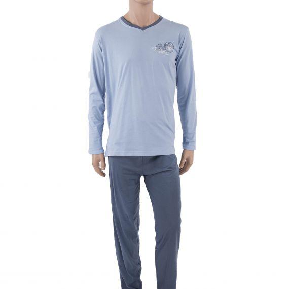 Pyjama bleu homme WILDERNESS Col V Pierre Cardin