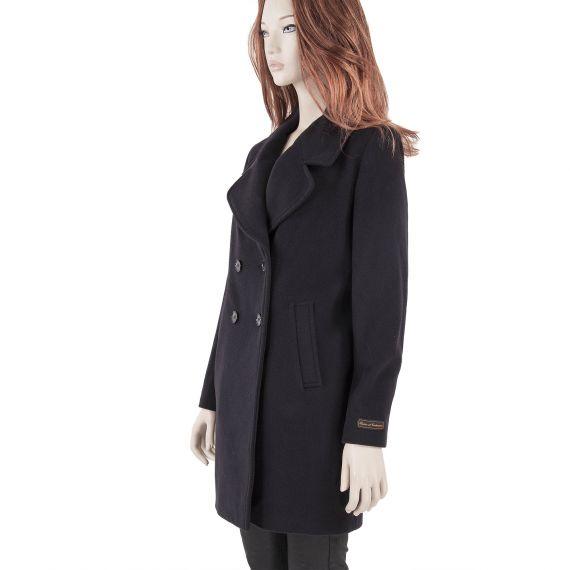 manteau bleu marine femme blevine laine cachemire d griff 39 stock. Black Bedroom Furniture Sets. Home Design Ideas