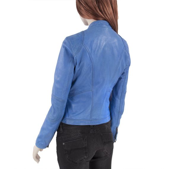 blouson en cuir bleu femme terrible oakwood d griff 39 stock. Black Bedroom Furniture Sets. Home Design Ideas