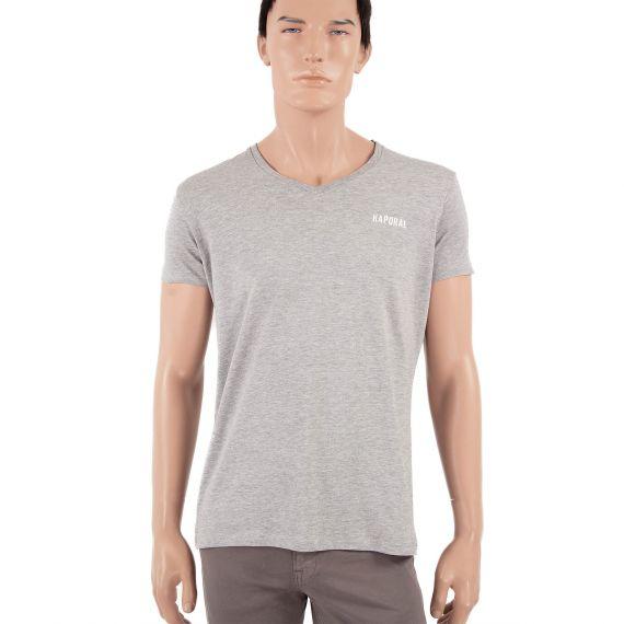 T-shirt gris clair homme Col V Kaporal