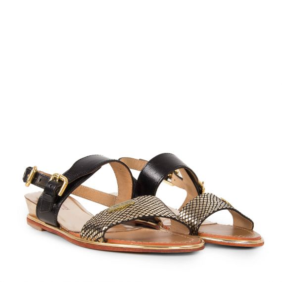 sandales noires dor es femme bichon les trop ziennes. Black Bedroom Furniture Sets. Home Design Ideas