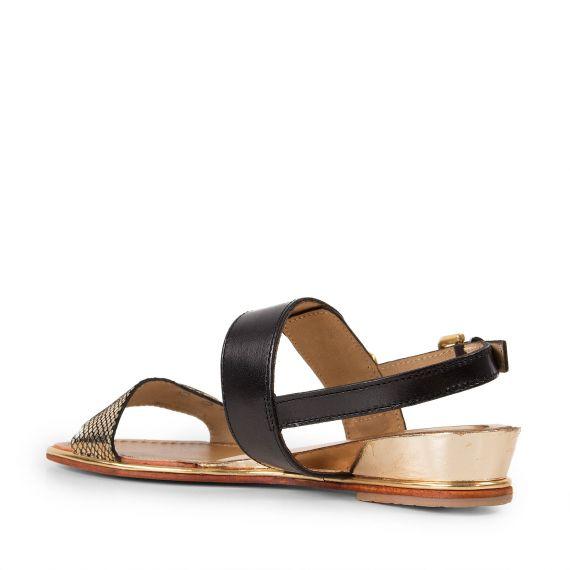 sandales noires dor es femme bichon les trop ziennes d griff 39 stock. Black Bedroom Furniture Sets. Home Design Ideas