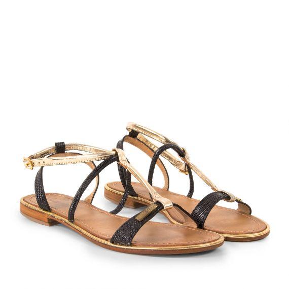 sandales noires et dor es femme haquina les trop ziennes d griff 39 stock. Black Bedroom Furniture Sets. Home Design Ideas