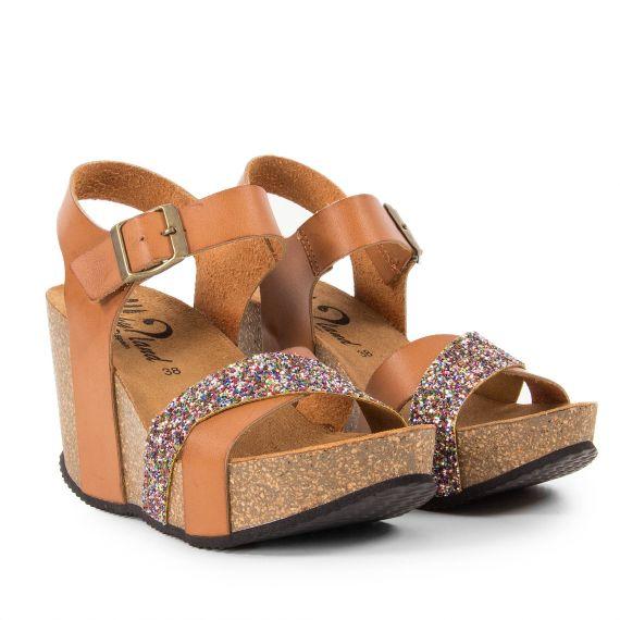 Sandales compensées marron paillettes multicolores femme Will Tan Why Land