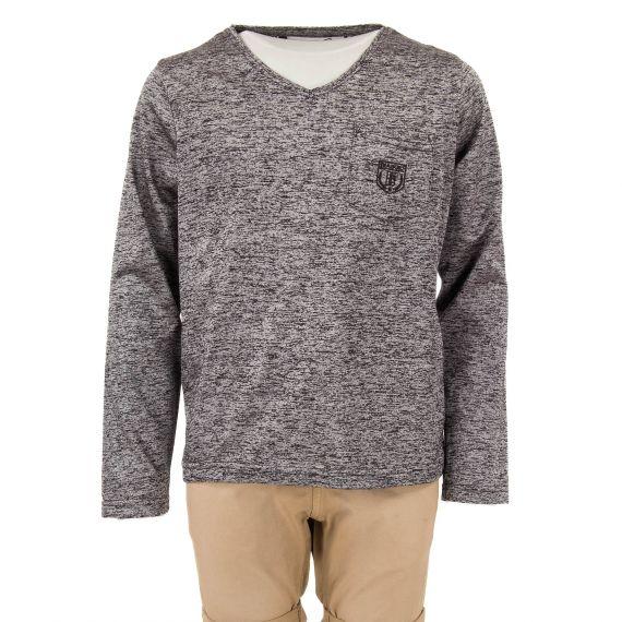 T-shirt chiné gris noir garçon Ludabil Biaggio