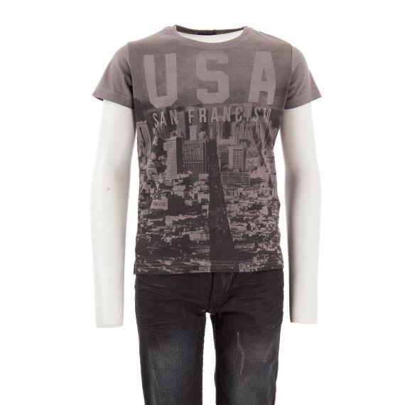T-shirt gris anthracite garçon USA Best Mountain