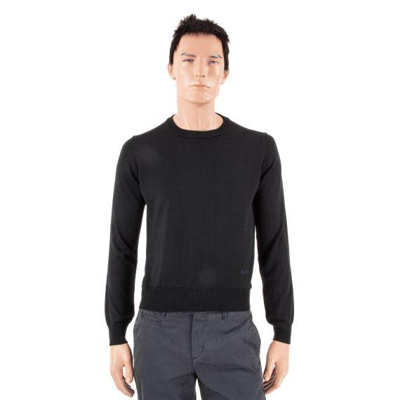 Pull noir en laine col rond homme Cerruti