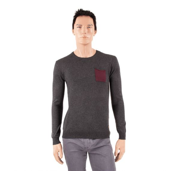 Pull gris anthracite homme FATH Red Soul